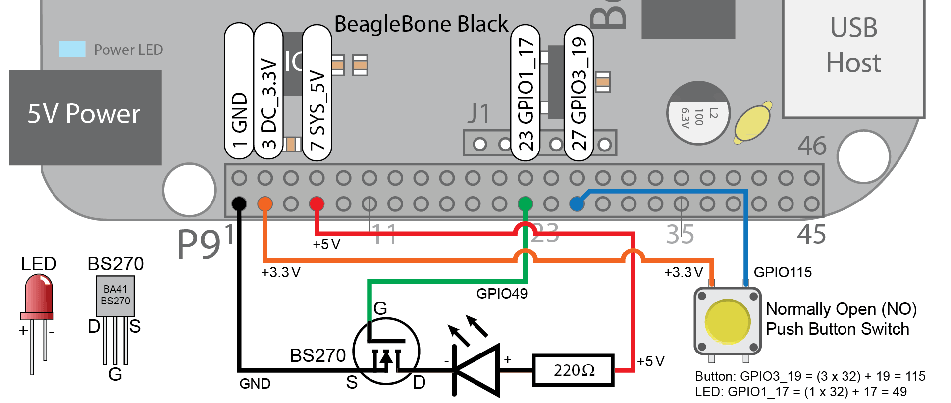 Writing A Linux Loadable Kernel Module Lkm Interfacing To Gpios Proper Way Connect Multiple Leds In Parallel Is Like This Each Led Always Be Very Careful That You Wire Circuits These Correctly Mistake May Destroy Your Beaglebone